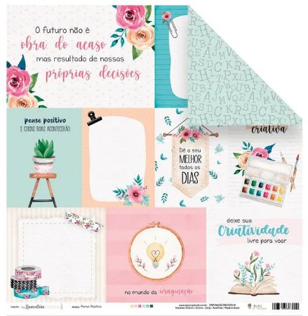 Papel de scrapbook Pense Positivo - Quarentena Criativa - Juju Scrapbook