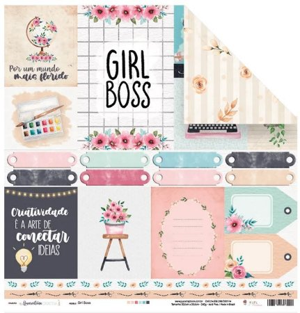 Papel de scrapbook Girl Boss - Quarentena Criativa - Juju Scrapbook