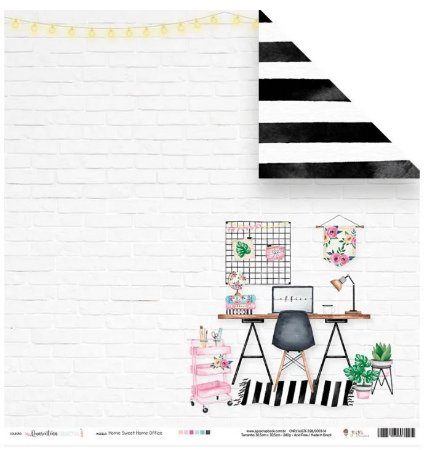 Papel de scrapbook Sweet home office - Quarentena Criativa - Juju Scrapbook