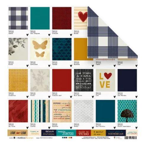Papel de scrapbook Pantones da Família - Família para sempre - Juju Scrapbook