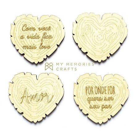 Kit de madeiras adesivadas de coração My Country Life - My Memories Crafts