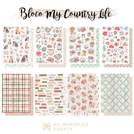 Bloco de papel scrapbook A5 My Country Life - My Memories Crafts