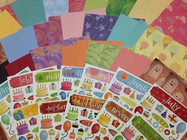 Kit de papéis e adesivos pequeno - Calendar Kit 2 - Karen Foster