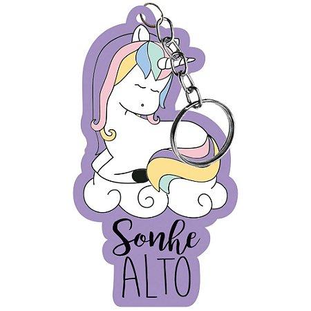 Chaveiro em MDF - Unicornio fundo lilás  - Litoarte - CHL-014