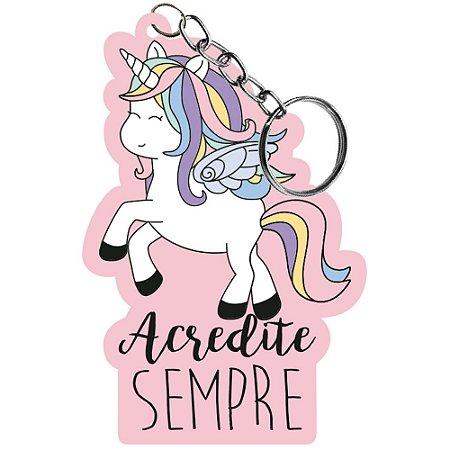 Chaveiro em MDF - Unicornio fundo rosa  - Litoarte - CHL-015