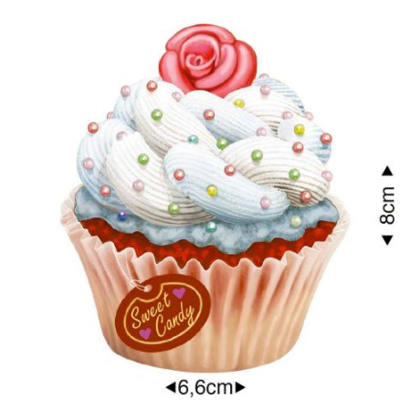 Aplique em MDF - Cupcake Branco  -  APM8-1180 - Litoarte