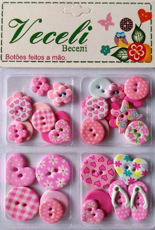 Botões Rosa - Blister - Veceli