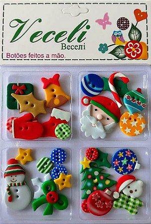 Botões Natal - Blister - Veceli