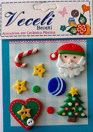 Kit botões Natal - Noel, com 10 botões sortidos - Veceli Botões