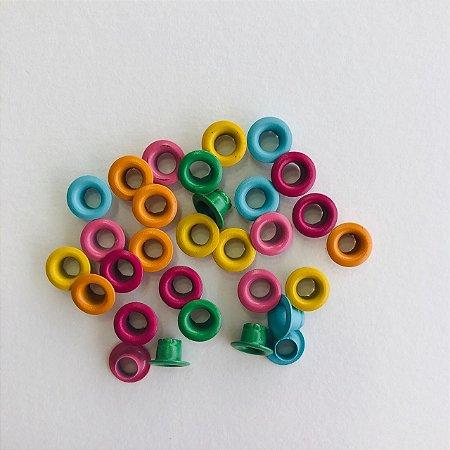 """Kit c/30 ilhoses - tons coloridos - tamanho 3/16 """""""