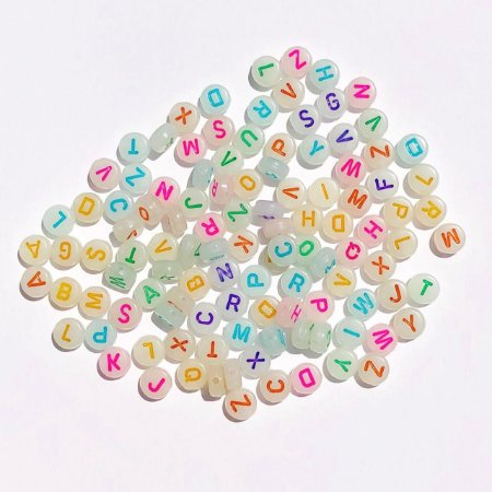 Kit miçanga letras neon multicolorido  transparente - 15 gramas