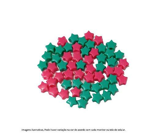 Miçangas estrelinhas (plástico) pink e verder- 15 gramas