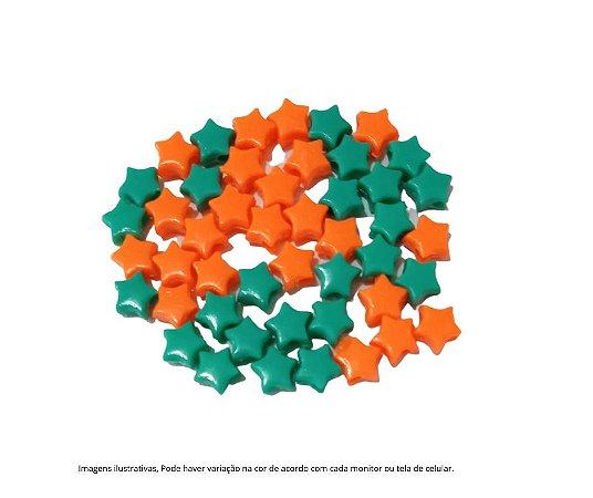 Miçangas estrelinhas (plástico) verde e laranja- 15 gramas