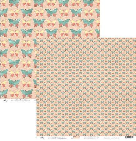 Papel para scrapbook  - Borboletas Shabby Pequena e Grande - 8801 - Ok Scrapbook