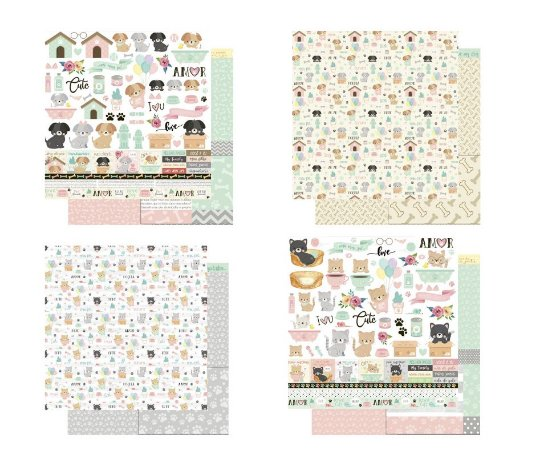 Kit 4 papéis 30,5 x 30,5 Bichinhos - Gato e Cachorro - dupla-face  - Litoarte