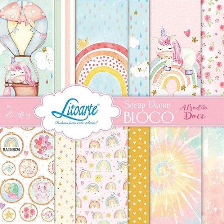 Bloco de papéis scrapbook 15x15 cm - Coleçao Algodão Doce - SBXV-032 - Litoarte