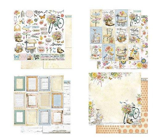 Kit com 4 papéis de scrapbook  - Coleção Encanto  - Dupla-face - Litoarte
