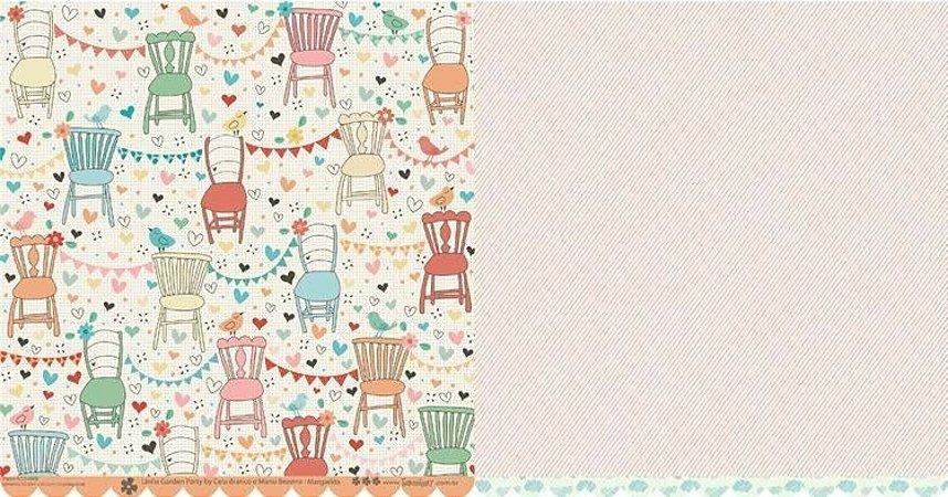 Papel para scrapbook - 30x30 Garden Party - Margarida - Scrapdiary