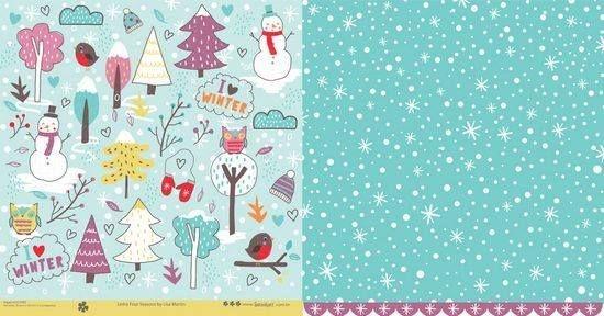 Papel para scrapbook - 30x30 Four Seasons - Inverno - Scrapdiary