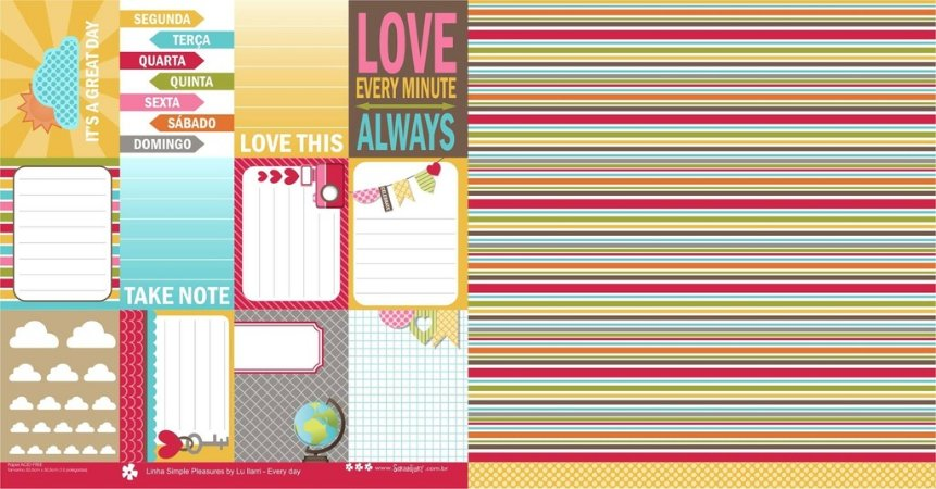Papel para scrapbook - 30x30 Simple Pleasures - Every day- Scrapdiary