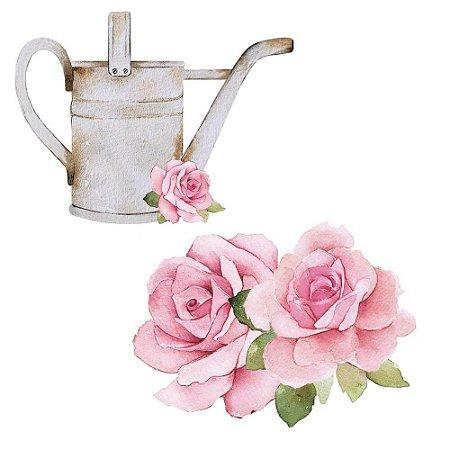 Aplique MDF Flor e Regador APM4-436 Mon Monde Rose - Litoarte