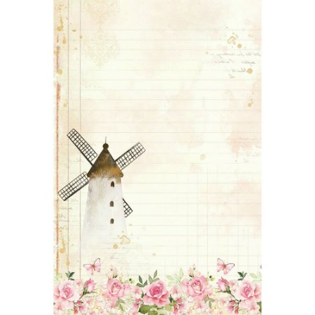 Papel de carta Moinho PEC-023 - 5 Folhas -  Mon Monde Rose - Litoarte