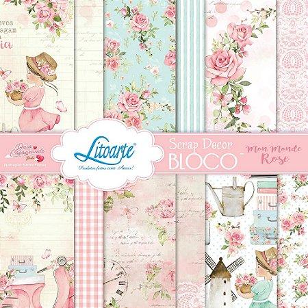 Bloco 15x15 -  Mon Monde Rose - Litoarte