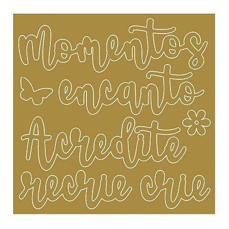 Cartela de apliques em acrílico dourado - APA-003 Mon Monde Rose - Litoarte