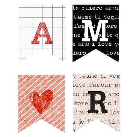 Aplique MDF Bandeirolas APM3-287 Amor Aquarela - Litoarte