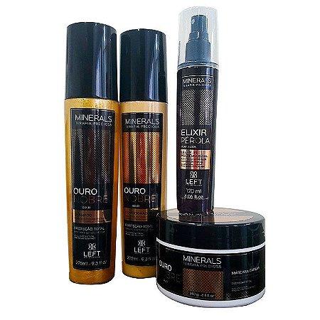 Kit Ouro Nobre (Shampoo e Condicionador 2x275ml + Máscara 250g) + Elixir Pérola 50%