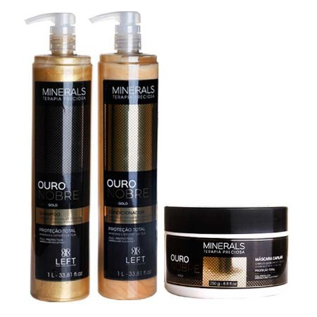Kit Ouro Nobre Shampoo + Condicionador 2x1L + Máscara 250g Minerals