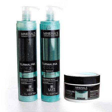 Kit Turmalina Verde Shampoo + Condicionador 2x1L + Máscara 250g Minerals