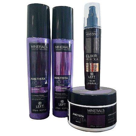 Kit Ametista Violeta (Shampoo e Condicionador 2x275ml + Máscara 250g) + Elixir Pérola 50%