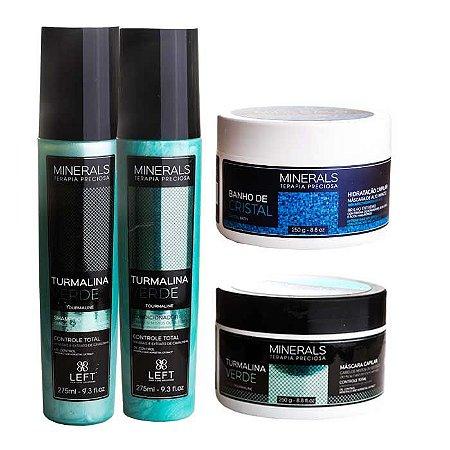 Kit Hidratante Turmalina Verde Home Care (3 itens) + Banho de Cristal 250g Oleoso / Misto
