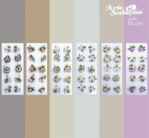 Kit 60 Adesivos de Unhas Nude Arte Sedução, 100% Artesanal