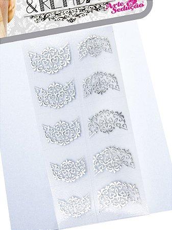 Kit 5 Cartelas Adesivos Tirinhas e Rendas, Arte Sedução
