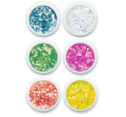 Kit 6 Glitter Flocado para Decoração de Unhas, Helen Color