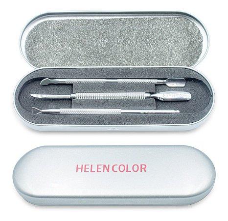 Kit De Estojo Com 3 Espátulas Inox Para Unhas E2 Helen Color