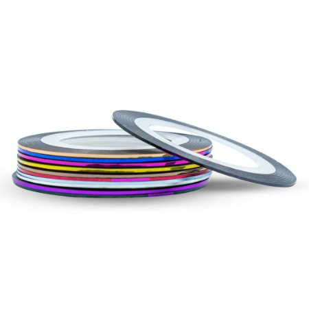 Kit 10 Fitas Fitilhos Decoração de Unhas Metalizado 1 mm