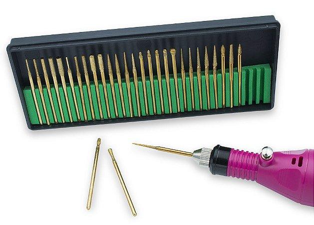 Kit 30 Brocas Diamantadas Lixadeira Unha Manicure Dourado