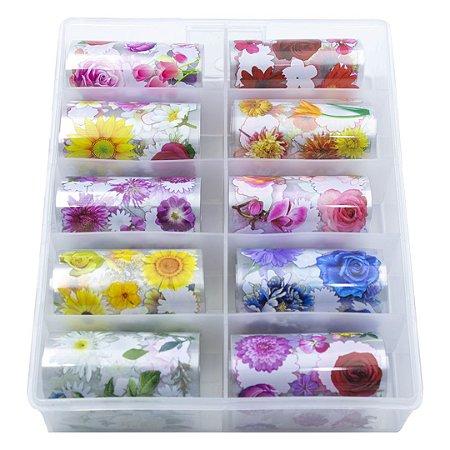 Nail Foil Unhas Decorado com Flores, Caixa com 10 Rolos