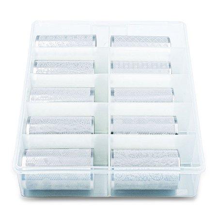 Nail Foil Para Unhas Decorado Branco, Caixa com 10 Rolos