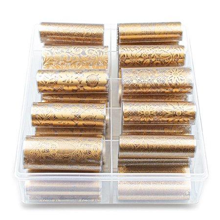 Nail Foil Para Unhas Decorado Bronze, Caixa com 10 Rolos