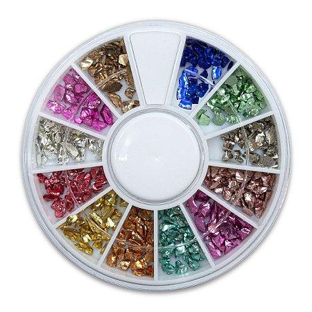 Disco Pedrarias Pedras 3 mm Decoração de Unhas Multicolor