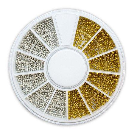 Disco Pedrarias Caviar 1 mm Prata Dourado Decoração de Unhas