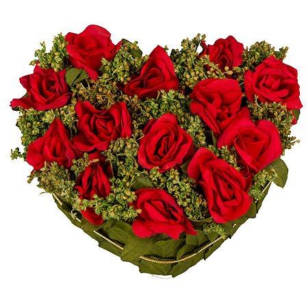 Arranjo de Coração com Rosas