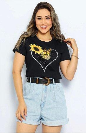 T Shirt Girassol c/ Borboleta