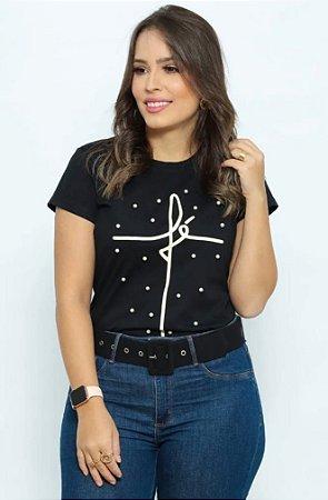 T Shirt Fé com pérolas