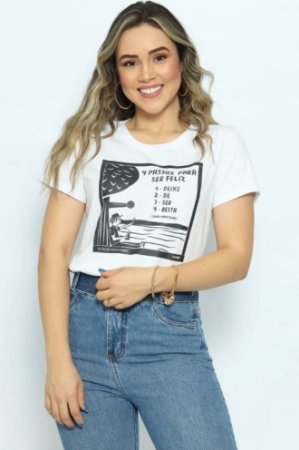 T Shirt 4 Passos Para Ser Feliz