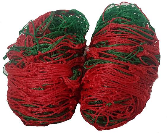 Par Rede Gol Society Suiço 4mts Véu Fio 4mm Caixote Nylon Verde e Vermelho